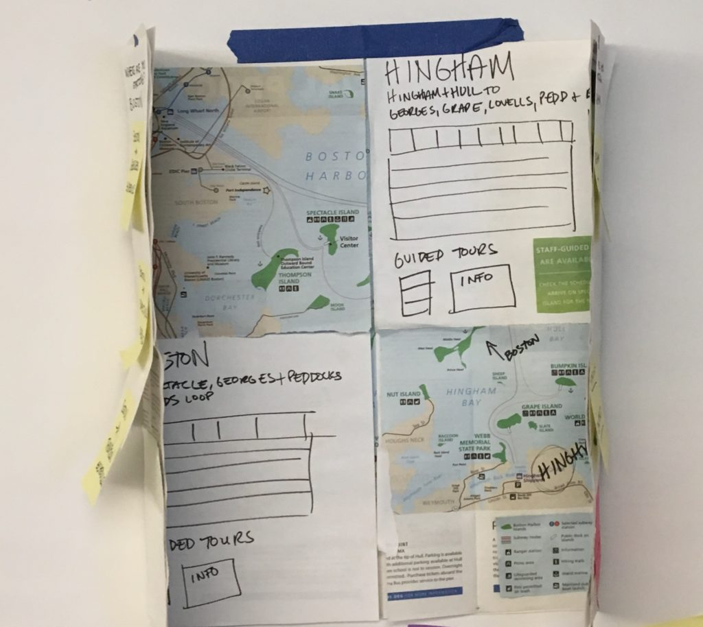 Paper unfolds to reveal map of Boston and of Hingham with blocks for schedule information from each departure point.